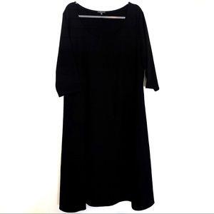 Eileen Fisher Black 3/4 Sleeve Scoop Neck Dress